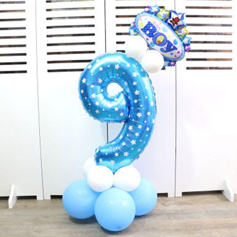 32-дюймовый Цифровой шар детское платье для дня рождения с рисунком надувной детский День рождения украшения вечерние шляпа воздушный шар для колонны игрушка - Цвет: Blue number 9