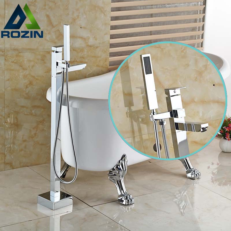 Bright Chrome Single Post Floor Mount Bath Tub Mixer Faucet Freestanding Bathroom Tub Filler with Handshower ...