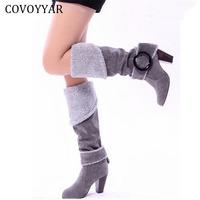 2015 Winter High Heeled Knee High Boots Elegant Sexy Big Buckle Female Women Fur Boots Shoes