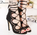 Free shipping Sexy 11cm Peep Toe Crossing Lace-up Hollow out Party sandal Pumps, fashion flock Cut-outs Lace-up heels 35-40