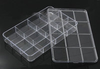 Plastic Empty Beads Box Storage Container Rectangle Transparent 22 5x14 5cm 1Piece 12 Compartments 2015 New