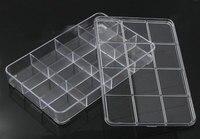 8 ESTAÇÕES Retângulo Recipiente Vazio Beads Caixa de Armazenamento de Plástico Transparente 22.5x14.5 cm, 1 Piece (12 compartimentos)
