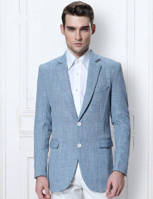 Latest Coat Pant Designs Light Blue Linen Men Suit Beach Suits Summer Simple Groom Men