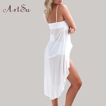 ArtSu Summer Dress 2017 Robe Sexy Casual Pink White Sling Strap Chiffon Beach Dress Robe Femme Vestido De Festa DR50110