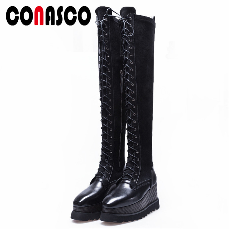 f8ea0d5c3b2 Sobre Tacones Punk La Altos Botas Zapatos Rock Mujeres Fiesta Altas Mujer  Cuñas Negro Conasco Caliente ...