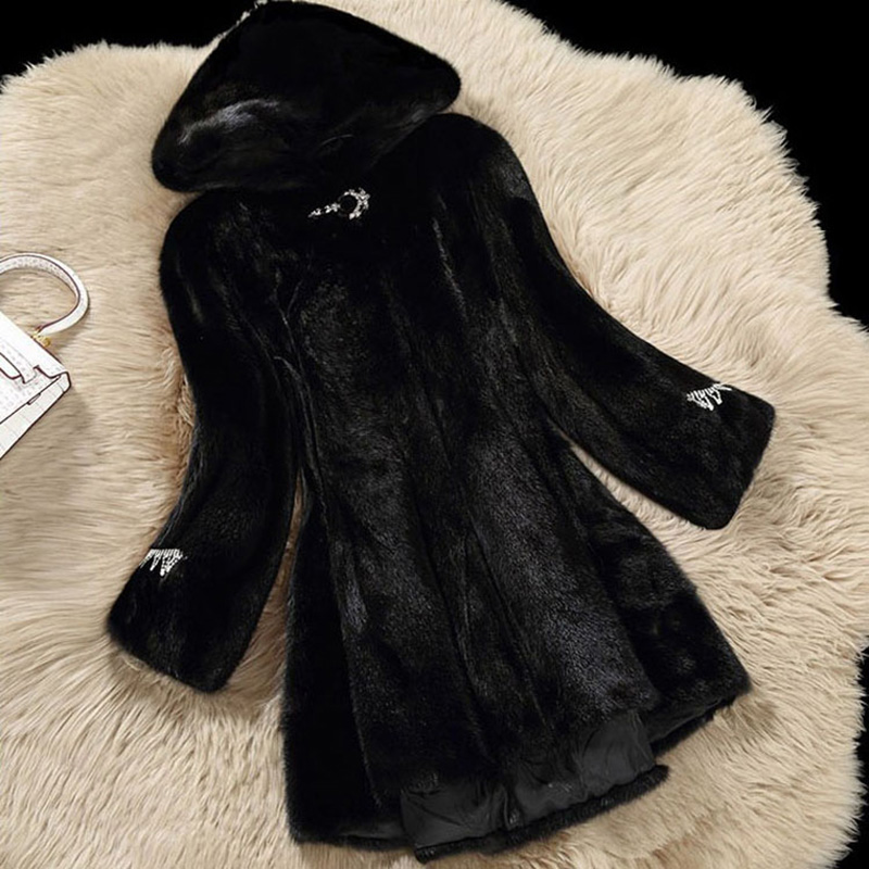 Moyen De Femmes Chaud Faux Capuchon Diamants black J013 Femelle 2019 beige Vestes Mode Survêtement Manteaux Yellow À Fourrure Slim Occasionnel White Hiver Long gwIPEX