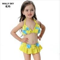New Children S Swimsuit Girls 3D Flowers Bikini Swimwear Baby Girl Halter Fashionable Plus Swimwear Pink