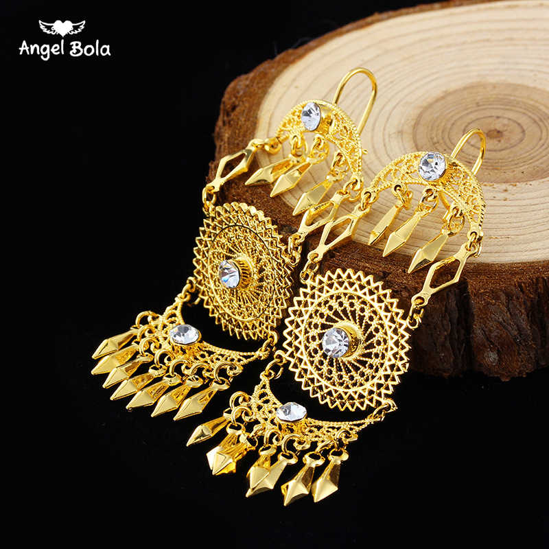 Muslim Ancient Copper Crystal Earrings for Women Gold Color Coins Arab Sign Crown Crystal Middle Eastern Jewelry Dangle Earrings