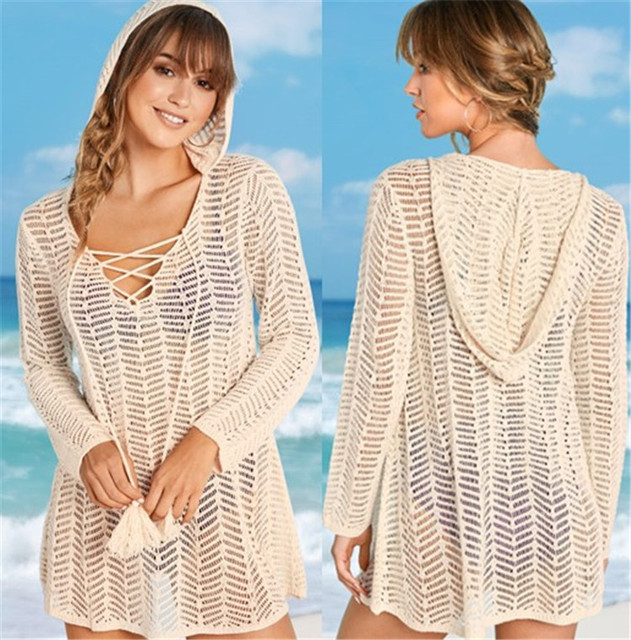 5a7377ffbb Knitted Tunics for Beach Swimsuit Cover up with Hat Crochet Cover ups Beach  Kaftan Bathing Suit