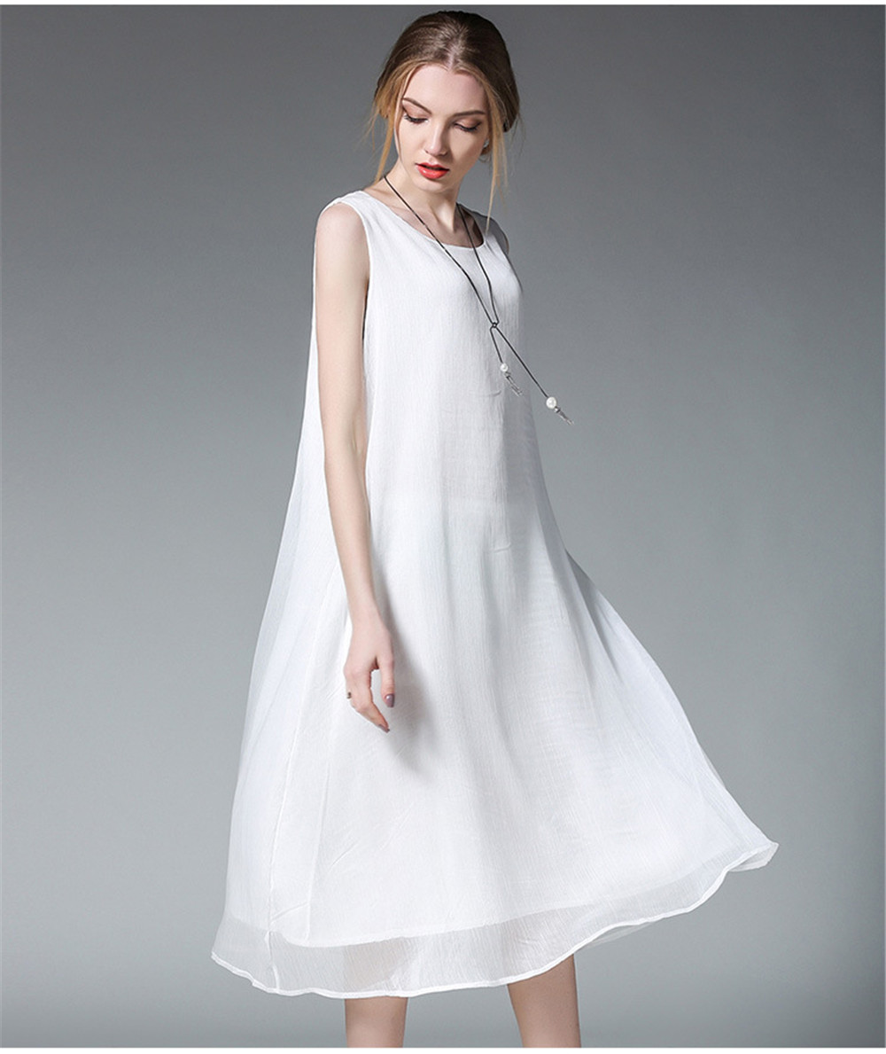 Fashion White Women Long Tank Dress 2017 New Summer Autumn Retro Sleeveless Chiffon Designs Casual Dresses Slim Plus size XXXXL 6
