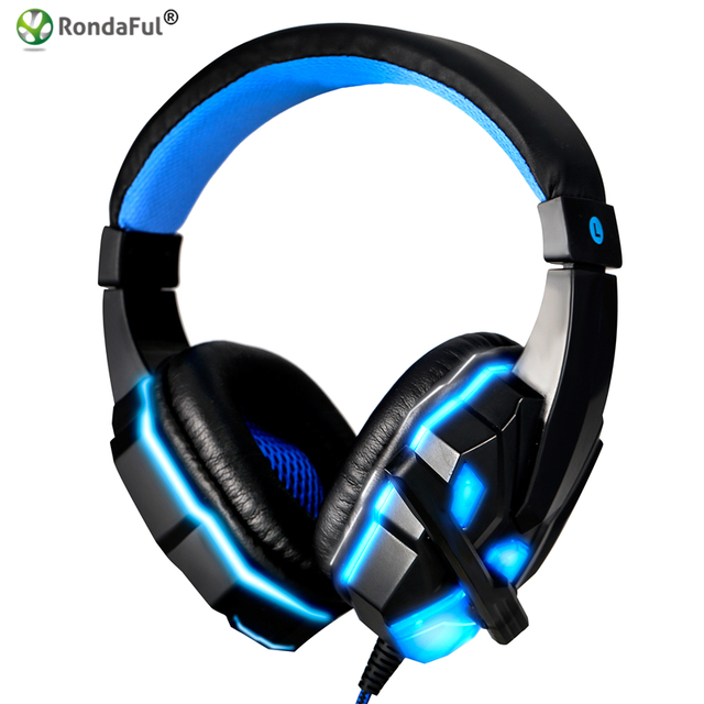 Hot Stereo Surround Gaming Headset 3.5mm Wired Auriculares con Micrófono para PC Computer Gamer Over Ear USB LED Luminoso
