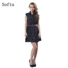 Softu горячие продажи женская мода лето повседневный dress рукавов танк колен line dress cat печатные платья с пояс