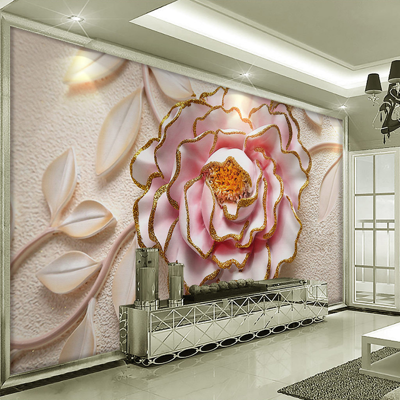 Custom 3D Photo Wallpaper For Walls 3D Relief Peony Flower Bedroom Wall Papers Home Decor Living Room Non-woven Mural Wallpaper modern birch tree wallpaper brief wallpaper trees wallpaper 3d mural wall roll for living room non woven wallpapers for walls