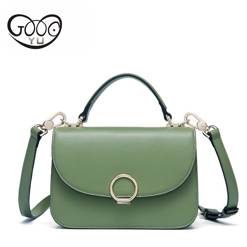 The new trend of the first layer of leather handbag shoulder bag metal ring European and American style leather multicolor handb