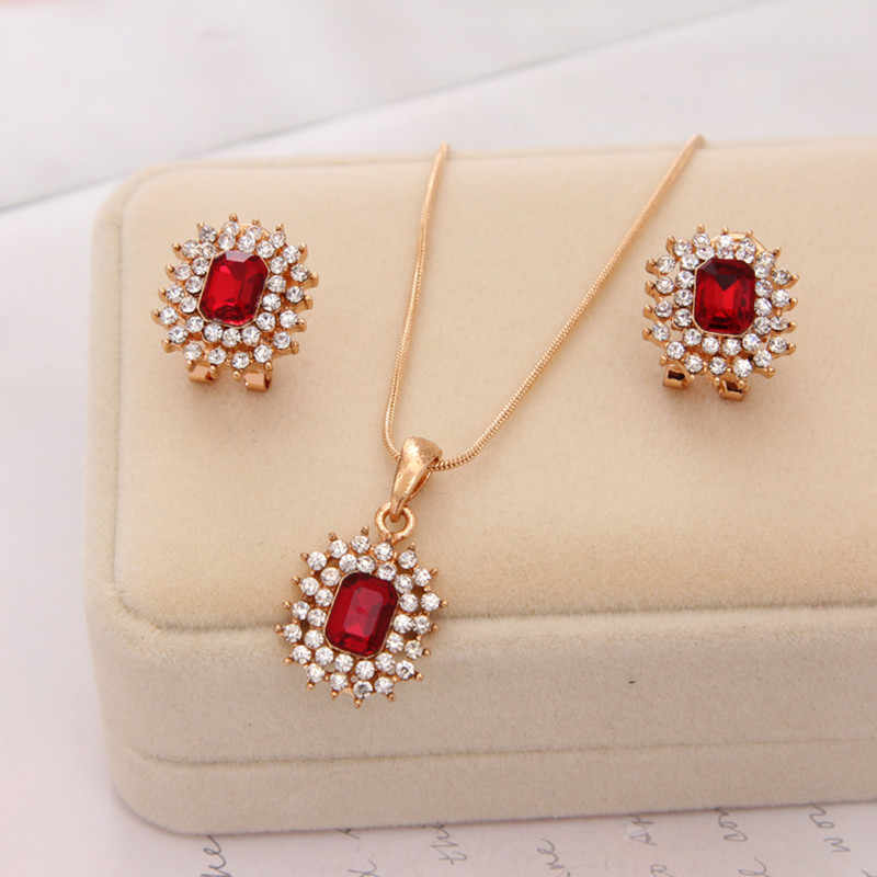 Fashion Gem Jewelry Sets CZ Stone Gold Chain Crystal Pendant Necklace/ Earrings Bridal Accessories Women Wedding Jewelry Sets