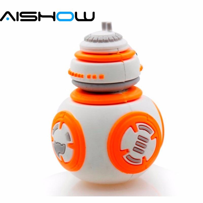 Robot BB-8 Star Wars The Force Awakens Memory Stick USB Flash Drive 64GB 32GB 16GB 8GB memory stick pen drive Robot U disk