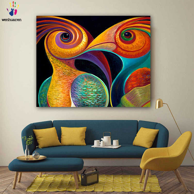 DIY colorings pictures by numbers with colors Two parrots picture drawing painting by numbers framed Home
