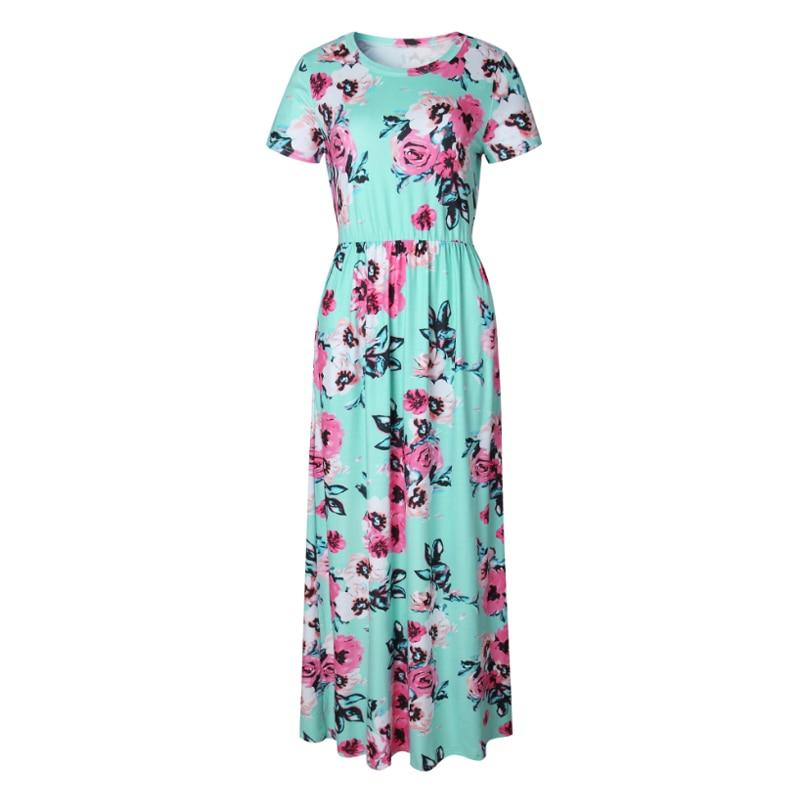 Vestido longo feminino para verão 2019, estampa