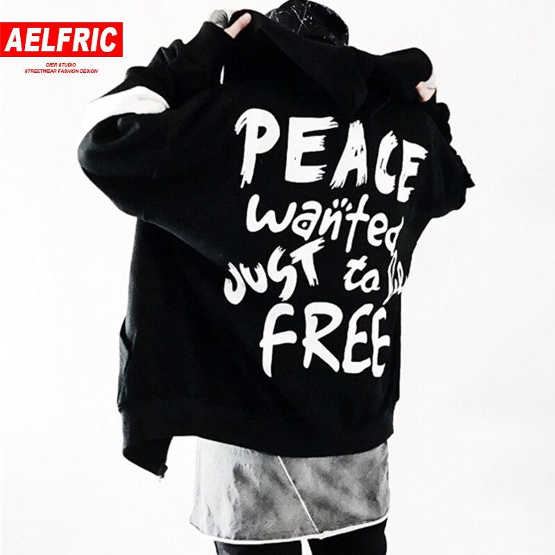 AELFRIC 2018 Весна Для женщин Для мужчин толстовки хип-хоп мода Головные уборы кофты мира печати балахон черный, белый цвет США Размеры s-xl TR04