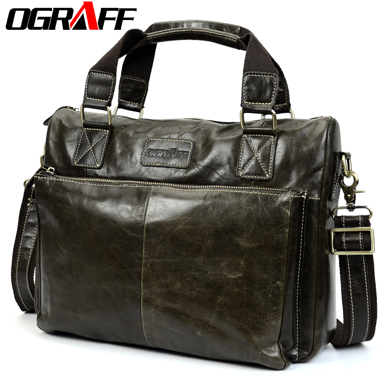 OGRAFF men handbag genuine leather bag men bags male messenger bag men shoulder bag famous brand big crazy horse leather handbag стоимость