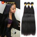 ELI Brazilian Virgin Hair Straight 3Pc Straight Free Closure&Bang Brazilian Hair Weave Bundles Top Brazilian Straight Hair Weave