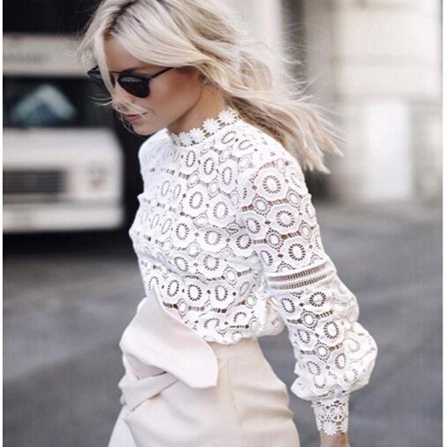 2016 mulheres Quentes encabeça Mulheres moda Vestuário Blusas Femininas Blusas & Camisas Mulheres Blusa de Crochê Camisa de Renda camisa de manga longa