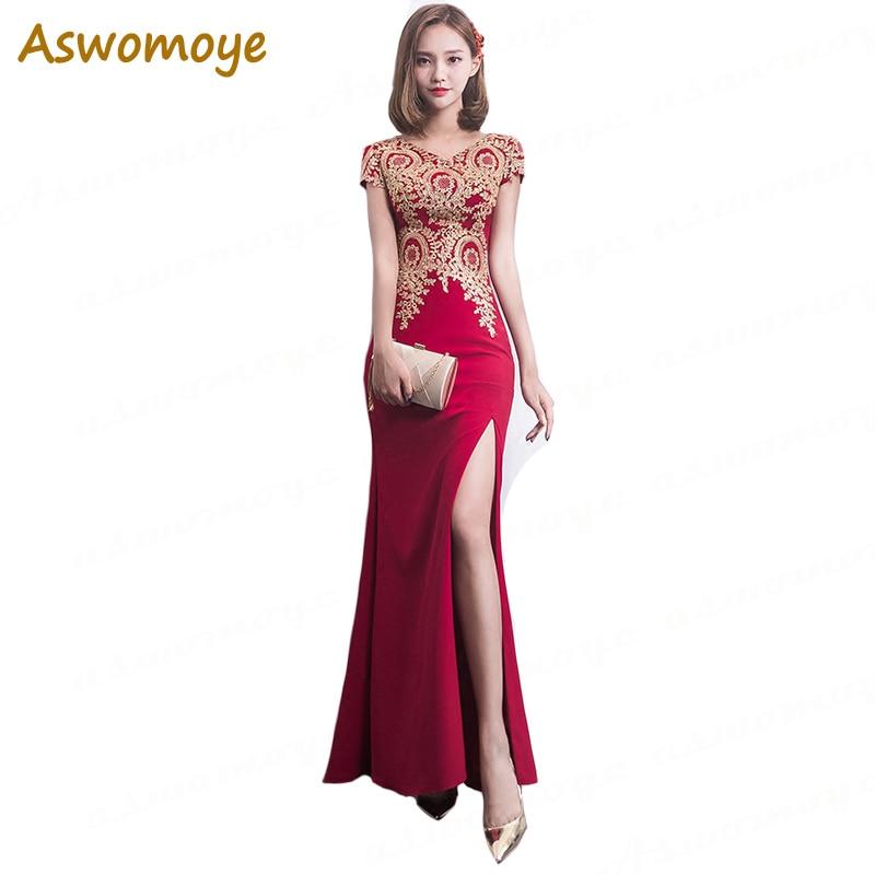 Elegant   Evening     Dress   2018 Mermaid   Evening   Gowns Gold Appliques Short Sleeve Front Split Party Formal   Dresses   robe de soiree