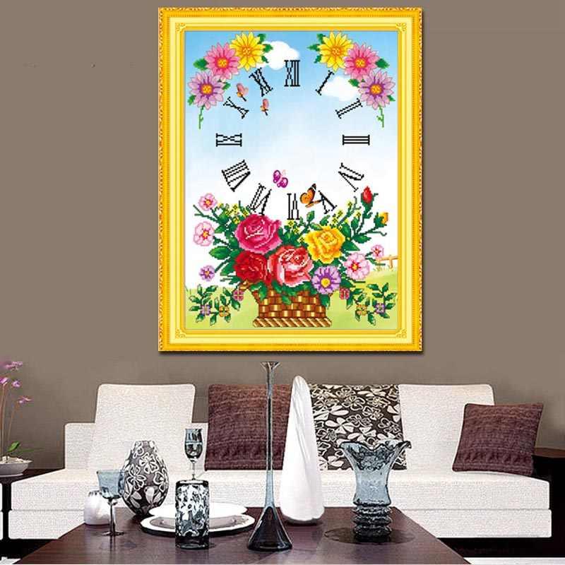 39*50 корзины Алмазная мозаика часы Цветочная настенная живопись Алмазная вышивка для декора Набор круглых страз AB бусины Алмазная вышивка