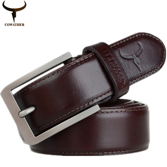COWATHER 2016 mens 100% top cow genuine leather luxury strap male belts for men 3.2cm width cintos masculinos free shipping