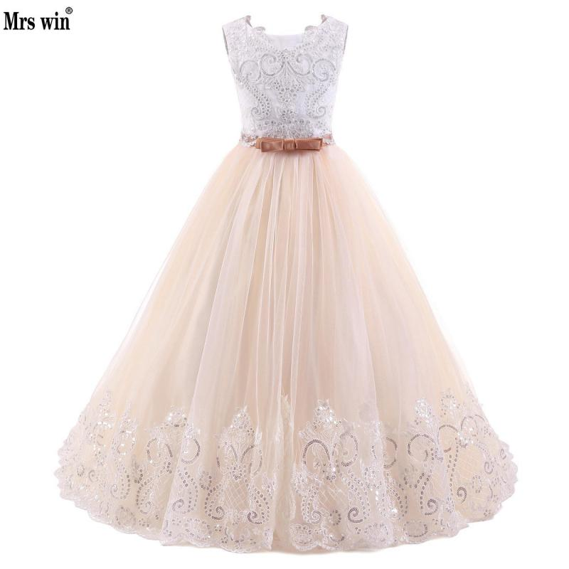 2018 Champagne Flower Girl Dress With Beige Ribbon Bow Crew Neck Mesh Ball Gowns Kids Holy Communion Dresses For Christmas 2-14