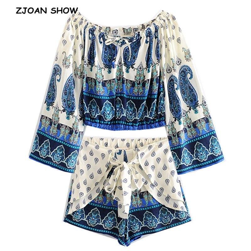 New Bohemian Elastic Slash Neck White White Floral Print Pullover Shirt 2019 Women Tide Bow Elastic Waist Shorts 2 Pieces Set