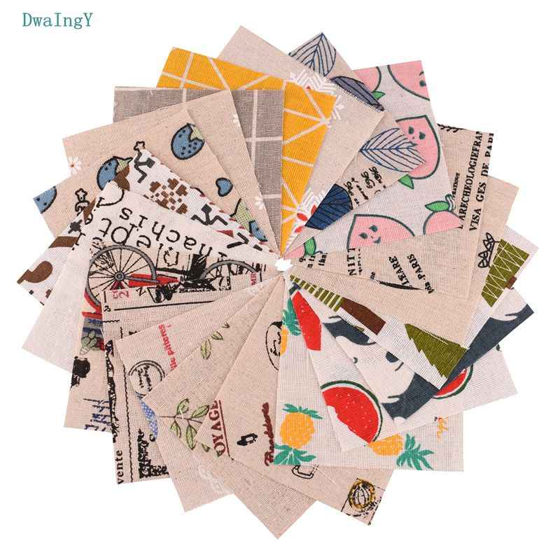 DwaIngY 20pcs/lot random color  Printed Cotton Linen Fabric For Patchwork DIY&Quilting Sewing Placemat Bags Material 10cmx10cm