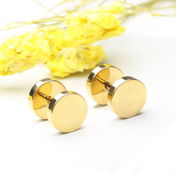 Innopes Fashion Punk Men woman Black Stud Earrings Double Sided Round Earrings Male Gothic Barbell gold Earrings Jewelry Gifts 4