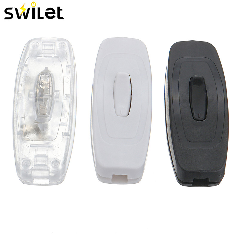 SWILET 1PC 3 Colors Small LED On-Off Cord Line Switch Rocker Push Button Switch For Electrical Lamp 2A AC 250V ...