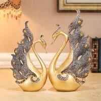 Пара лебедей украшения дома аксессуары свадебные праздничные подарки desktop любовник Смола украшения