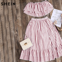 SheIn Crop Top And Skirt Set Strapless Striped Flyaway Bandeau Top And Ruffle Skort Set Summer