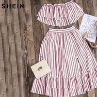 SheIn Crop Top And Skirt Set Strapless Striped Flyaway Bandeau Top And Ruffle Skort Set Summer