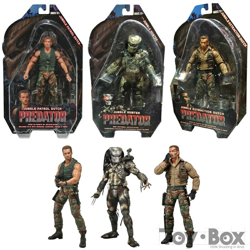 NECA Movie 25th Predator <font><b>Alien</b></font> Arnold Schwarzenegger Patrol Dutch Extraction Dutch Jungle Hunter 18cm Toy PVC Figure Model Gift image
