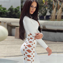 2018 Newest Summer Bandage Dress Women Celebrity Party Long Sleeve V-Neck Hollow Out Sexy Night Out Dress Women Bodycon Vestidos