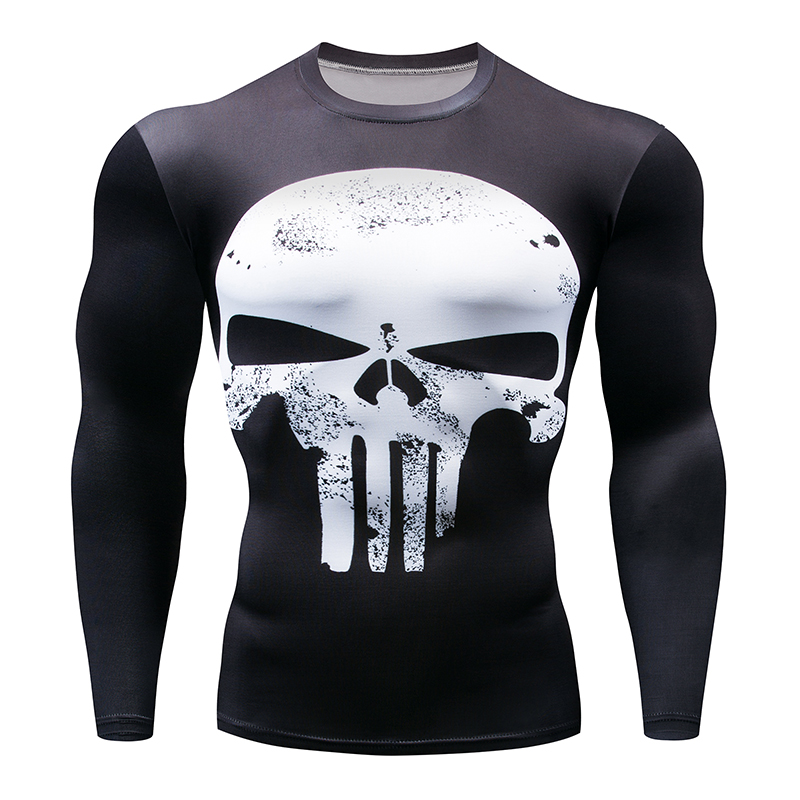 5d941f8bf1fa Superman Punisher Rash Guard Running Men's White Skull T Shirt Crossfit  Workout Long Sleeve Compression Gym-in T-Shirts from Men's Clothing on ...