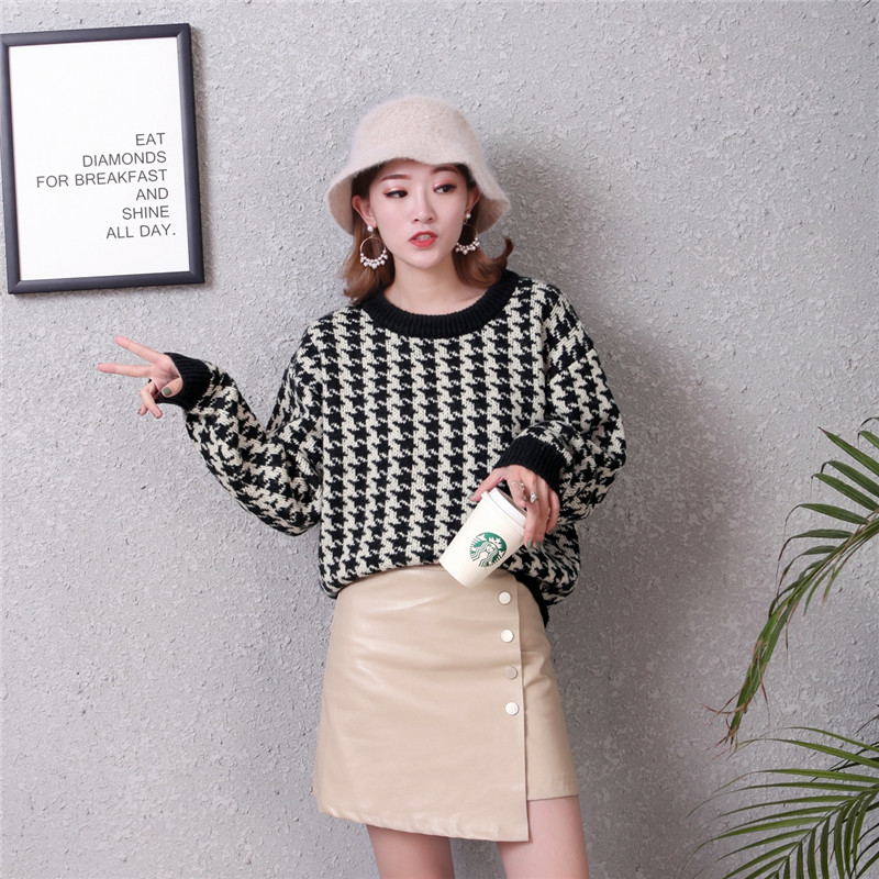 Kemixiaoxuan New Arrivals Pullovers Knitted Sweater Woman Houndstooth  O Neck Long Sleeve Knitwear Jumper Woman