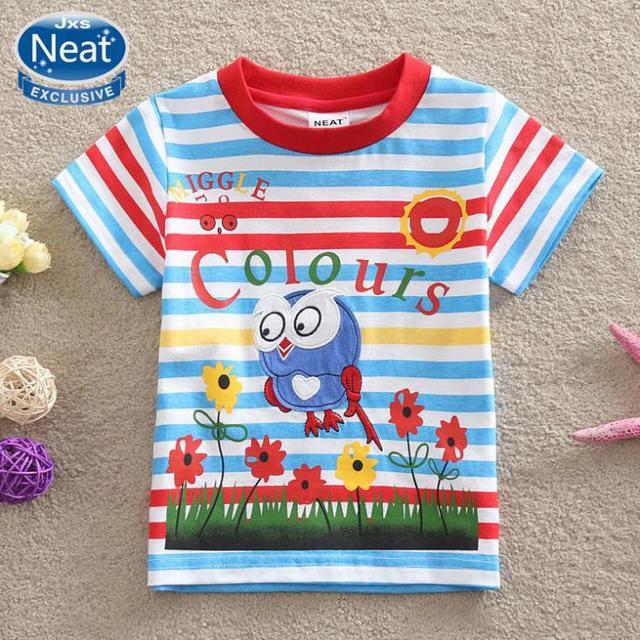 NEAT novo menina roupa do bebê desgaste dos miúdos crianças pássaros bordados 100% algodão T-shirt de manga curta 2016 roupas chlidren K1080