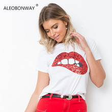 ALEOBONWAY 2018 New Short Sleeve Print Red Lips Sexy Sequined White Black  Chic Casual Women T f223e6149c1a