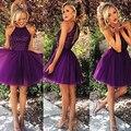 2017 Фиолетовый Короткие Платья Партии с Бисером Scoop Декольте Hollow Вернуться Рукавов Складки Над Коленом Платья