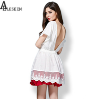 Vintage Classic Deep V Blackless Sexy Dress for Women Ball Gown White Patchwork Mini Cotton Elastic Waist Dress Girls