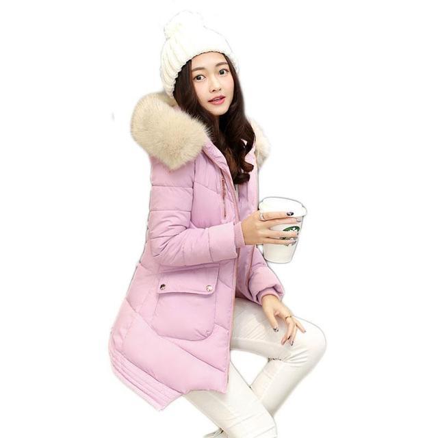 2016 Nuevo Invierno Chaqueta Acolchada Larga de Las Mujeres Solid Delgado Abrigo de Algodón Con Capucha con Cuello de Piel Gruesa Caliente Outwear Mujer Vestir