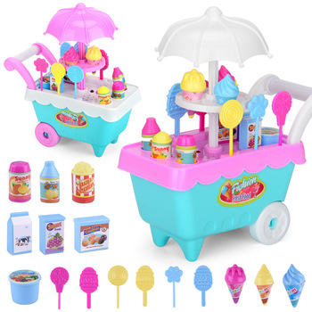 Mini Ice Cream Cart Toy DIY Girls Pretend  Play 19 Sets of Toy Doll String Toys for Children ice cream cart toy