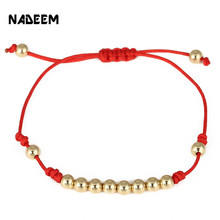 цена на Fashion 5mm Copper Bead Weave Charm Adjustable Bracelet Red String Rope Knitted Bracelet for Women Girl Gift Bracelet Jewelry