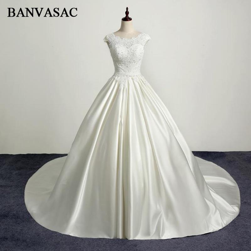 BANVASAC 2017 Nuevo Bordado Elegante O Cuello Vestidos de Novia Sin Mangas Satén Tanque Cristales Corte de Tren Vestidos de Novia de Encaje de Novia