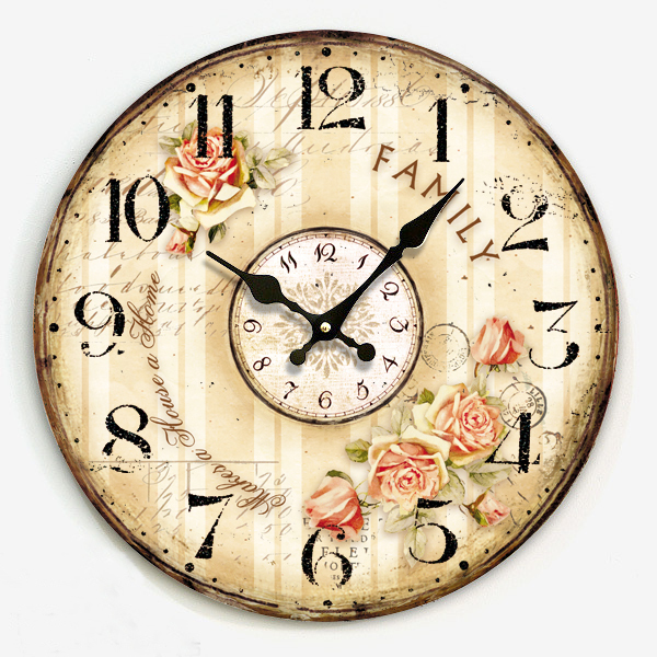 34cm Digital Wood Clock On Wall Vintage Country Style Single Face Round Clock Wall Watch For